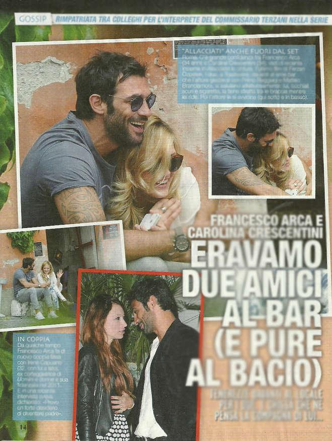 """Francesco Arca e Carolina Crescentini, amicizia """"al bacio"""" anche fuori dal set"""
